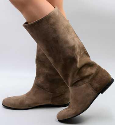 Stiefel Wildleder taupe für die Übergangszeit in standard Schaftweite